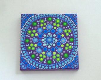 Sale-Mini Mandala-original painting-3D wall art-3x3 canvas dot art-pointillism-dotillism-aboriginal-hippie boho-yoga-meditation-blue teal