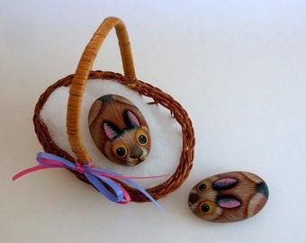 Chocolate brown bunny-brown bunny rabbit-miniature animal-DIY moss terrarium kits-fairy accessories-painted pet rocks-fairy garden decor