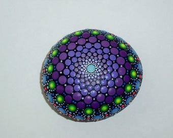 Mandala stones Etsy-Bohemian dot art-spring gift ideas-yoga-ooak 3D neon polka dot art-blue purple amethyst green-dotillism pointillism-Zen