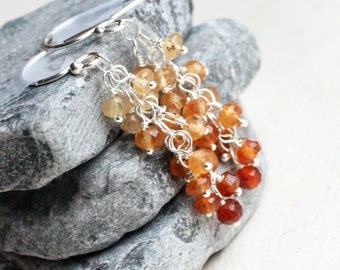 "Hessonite Garnet Earrings, Sterling Silver - ""Amber Cascade"" by CircesHouse on Etsy"