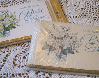 Two Unopened Packages of Vintage Bridal Shower Invitations Forget Me Not