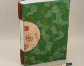 Journal, Notebook, Sketchbook or Guestbook, Unique and Hand-bound with a Swirling Natural Green Fabric Cover