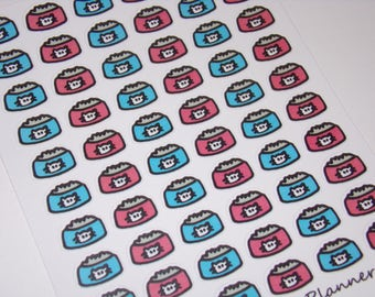 60 Feed the Cat Stickers / Planner Stickers ~ Great for your Erin Condren Life Planner/ Hand-drawn