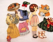 Child's  Fabric Paper Doll playset  travel church toy Original Rare fabric Lily