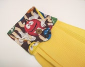 Hanging towel Button top towel  M and Ms Candy  gold  towel