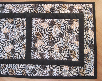 Quilted table runner contemporary abstract modern leaves black brown tan  Quiltsy handmade