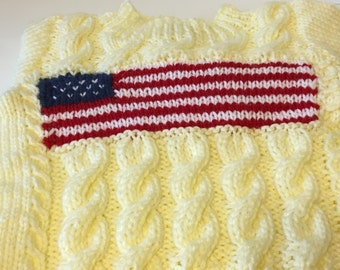 READY TO SHIP    Knit Patriotic Toddler Aran Cable Sweater/Unisex/Ivory/Acrylic                                       Size 2T