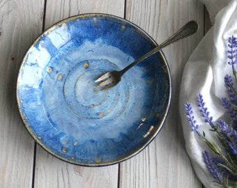 Handcrafted Stoneware Dish with Blue Swirling Glaze Ceramic Shallow Bowl Pottery Made in USA