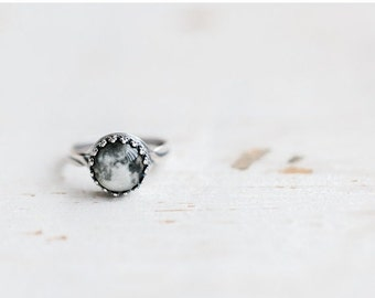 Full Moon ring - Silver ring - Space jewelry - Statement ring - Space ring - Full moon jewelry - Adjustable ring - planet ring (R080)