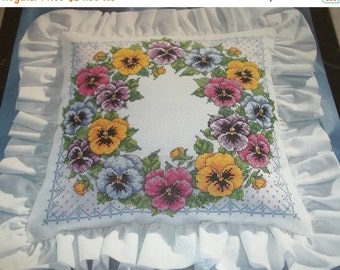 SWEETHEART SALE Vintage 1994 Bucilla Counted Cross Stitch Kit Pansy Wreath Pillow