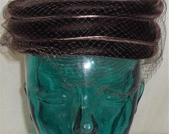 Vintage Lady Ann Chocolate Brown Velvet Pillbox Hat Netting