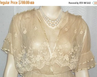 ON SALE Antique Steampunk Net Lace Dress Victorian Edwardian Flapper Small