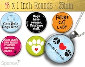 Cat Love  - (1x1) One Inch (25mm) Round Pendant Image Collage - Digital Sheet - Buy 2 Get 1 Free - Instant Download - Magnets, badges, glass
