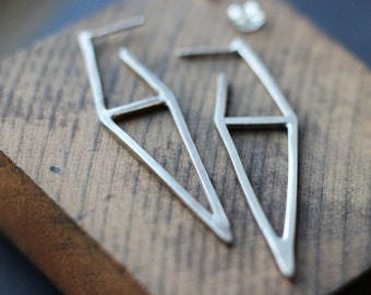 Double Triangle Hoop Sterling Earrings- Free Shipping