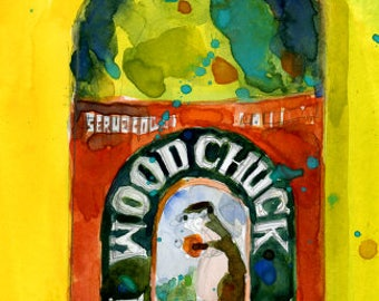 Woodchuck Hard Cider  Watercolor Art Print or Giclee Print as interpreted by D.Rifkin