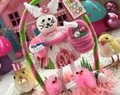 Vintage Inspired Easter SuGaR SwEeT Spring Keepsake BUNNY HOP Diorama Sweet Miss Sugardrop