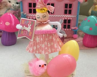 Vintage Inspired SuGaR SwEeT Easter Spun Head Keepsake EGG HUNT Diorama