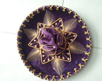 Vintage Purple Mexico Sombrero For Pet