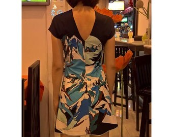 digital printed bodycon jersey tunic dress short sleeves