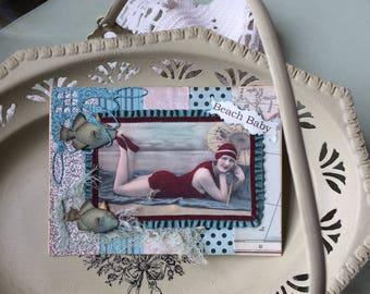 Vintage-style Beach Theme Card - Vintage-look Summer Bathing Beauty Card - Vintage Bathing Beauty