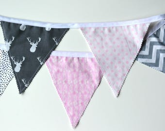 Bunting Banner - Photo Prop - Fabric Flags - Pink and Grey Banner - Baby Girl Birthday Decoration - Nursery Decor - Baby Shower, Baby Photos