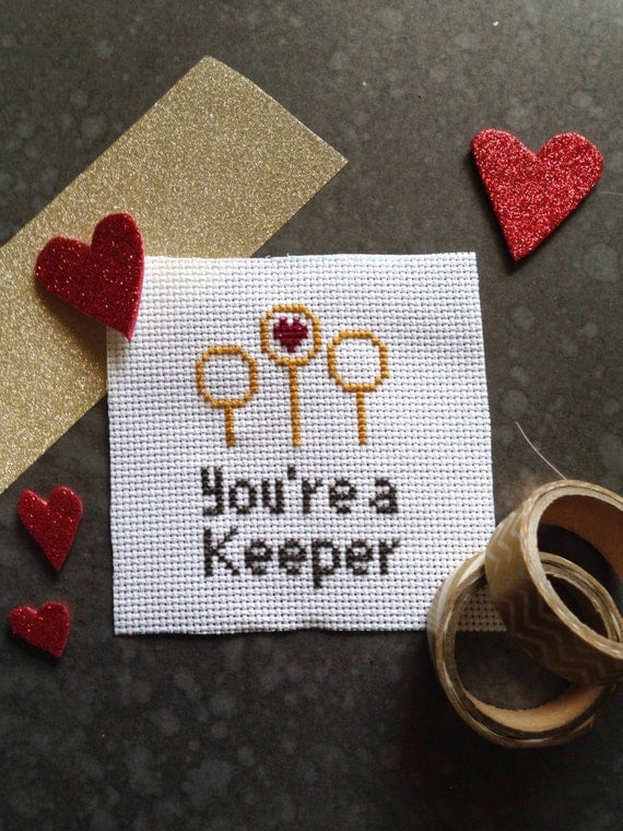Harry Potter Inspired Valentine Cross Stitch - You're A Keeper