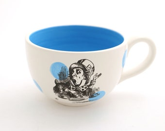 Alice in Wonderland oversized teacup - mad hatter  - we're all mad here - Lewis Carroll through the looking glass book lover tea party