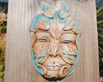 ceramic mask leaf sculpture art clay face fine art wall decor