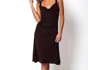 35% OFF SPRING SALE The Vintage Diane Von Furstenberg Low Cut Maroon Brown Swing Dress