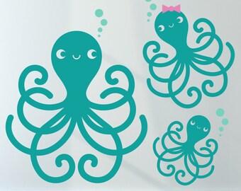Octopus Family Wall Decals Ocean Baby Nursery Cute Sea Life Underwater Theme Nautical Kids Room Decor Under the Sea Kawaii Wall Sticker