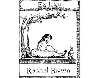 Personalized Little Girl Bookplate Stamps
