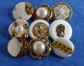 9 Unique White and Gold Colored Shank Buttons -  20-25mm  - Downsizing SALE  Must Go!