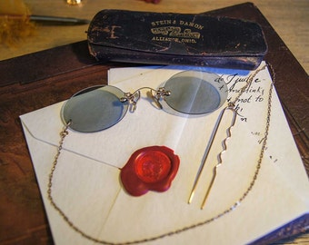 Ladies Pince Nez Sunglasses - Antique