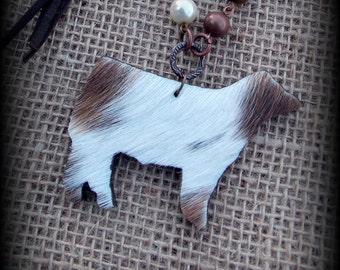 Hair on Hide  Shorthorn X Show Steer, Cattle on Boho Style Leather & Bead Chain Necklace with Charms Approx 26""