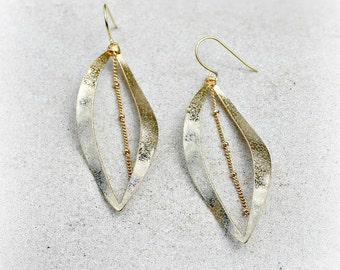 Gold Dangle Chandelier Earrings, Leaf, Chain, Bohemian Jewelry