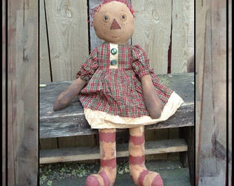 SALE mailed paper pattern Primitive folk art raggedy appliqued nose painted legs  rag doll HAFAIR OFG faap 350
