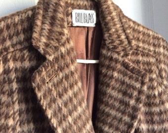 Bill Blass Wool Coat Women's Brown Wool Tweed Houndstooth Size 8-10