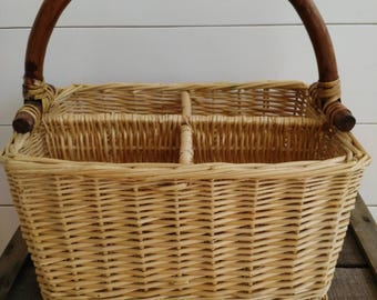 Vintage wine holder, woven wicker basket, picnic basket, storage basket, silverware basket with handle