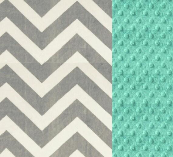 Chevron Minky Baby Blanket Girl,  Mint & Silver Gray Personalized Baby Blanket - Opal Baby Blanket // Soft Baby Blanket
