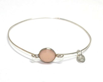 Sterling silver Rose Quartz bracelet - Minimalist, artisan, semiprecious, narrow, bangle, gem - free worldwide shipping!
