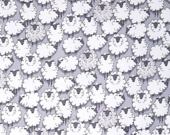 Michael Miller Sheep CX7263-Gray 100% cotton Fabric By the Yard-EYES ON EWE- White Sheep, Gray Background