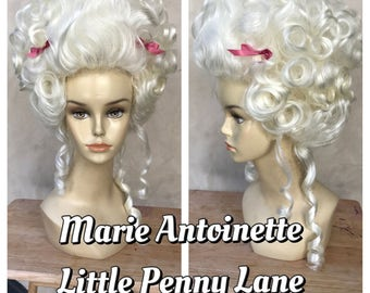 Bright Blonde Marie Antoinette 18th Century Adult Costume Wig with Bow Accents