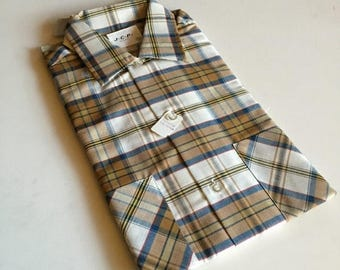 ON SALE Mens NOS Plaid Jcp Brown, Blue & Cream Button Shirt - Retro New Old Stock