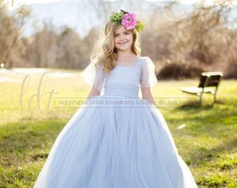 NEW!! The Elizabeth Dress in Dusty Blue - Flower Girl Dress - Couture Dress