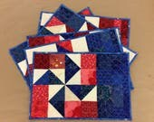 Red White & Blue Pinwheels Quilted Placemats Set of 6