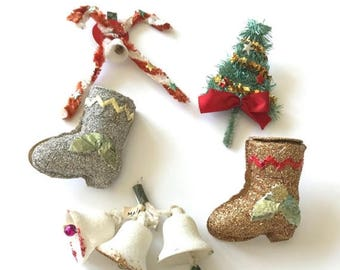 HOLIDAY CLOSEOUT 50% OFF Lot of 5 Vintage Christmas Package Decorations Tree Boots Bells Candy Canes Chenille Spun Cotton Glitter