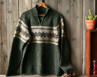 Vintage Mens Cowl Neck Sweater 90s Green and Off White Industrial Exchange Vintage From Nowvintage on Etsy