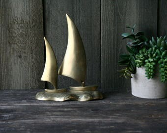 Two Brass Sailboats On The Sea Bohemian Decor Vintage From Nowvintage on Etsy