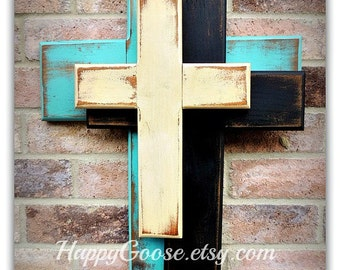 Wall CROSS - Wood Cross - Medium - *NEW* OFFSET Crosses in Antiqued Turquoise, Black, and Beige (or any colors of your choice)
