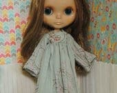 one-of-a-kind gray crinkle dress for Blythe with hand-beading